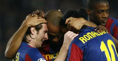 Front three: Messi, Henry and Ronaldinho