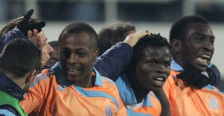 Goal: Marseille celebrate after Taye Taiwo's equaliser