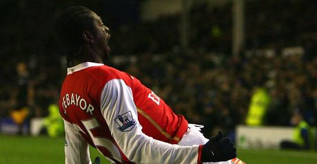 Adebayor: Celebrates Arsenal's third