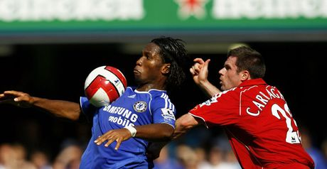 Key battle: Drogba's duel with Carragher could be crucial