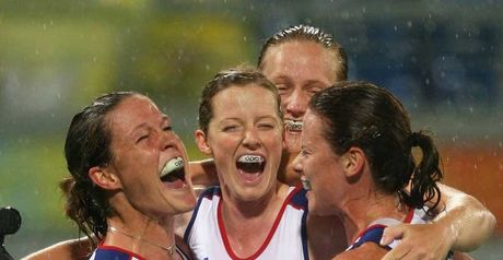 Good goal: Crista Cullen, left, is congratulated by team-mates after netting's GB's only goal.