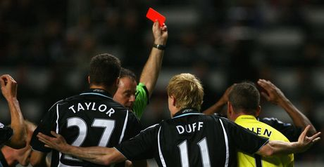 Newcastle's players complain as Beye is sent off
