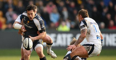 Worcester winger Rico Gear releases the ball in contact