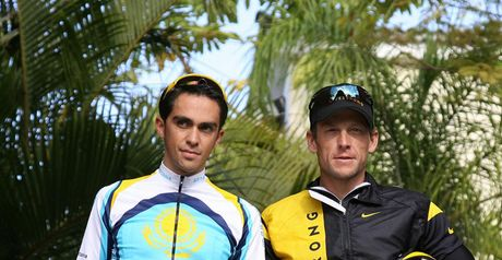 Contador (left) and Armstrong: team-mates and rivals