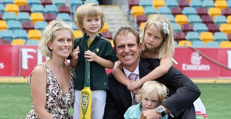 Hayden and family on the 'Gabba outfield