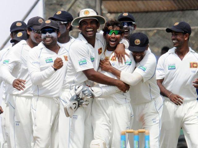 Sri Lanka celebrate.
