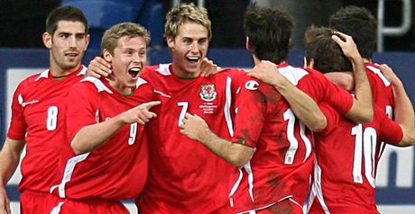 Edwards celebrates his opener for Wales
