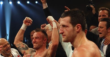 Mikkel Kessler celebrates his victory over Carl Froch in 2010