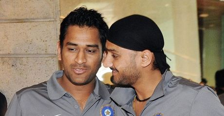 Admiration: Dhoni (left) and Harbhajan