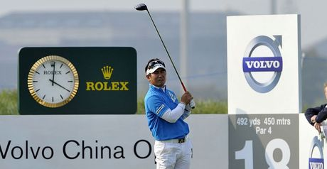 Driving force: Yang tees off at the 18th