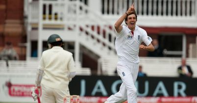 Finn (5-87) celebrates the wicket of Mushfiqur at Lord's