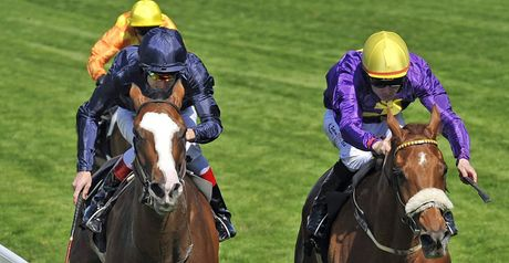 Rite Of Passage (right) wins the Gold Cup.