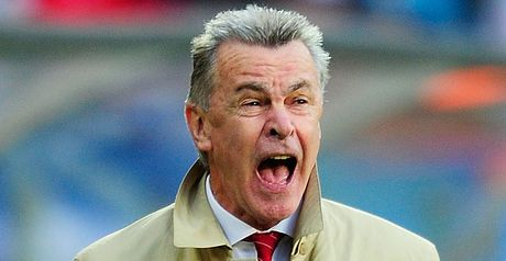 Ottmar Hitzfeld: The Switzerland boss saw his side pick up three points despite having a man sent off