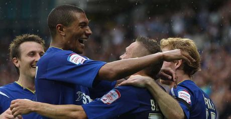 Bellamy: Congratulated by team-mates after scoring on his dream debut