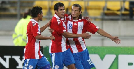 Valdez celebrates his opener for Paraguay