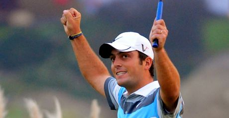 Molinari celebrates his WGC victory in Shanghai last November