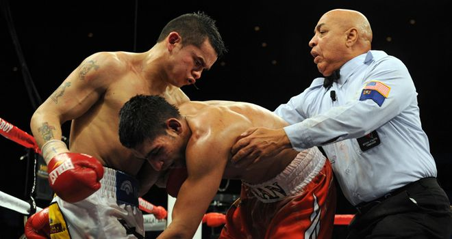 Khan in action against Maidana
