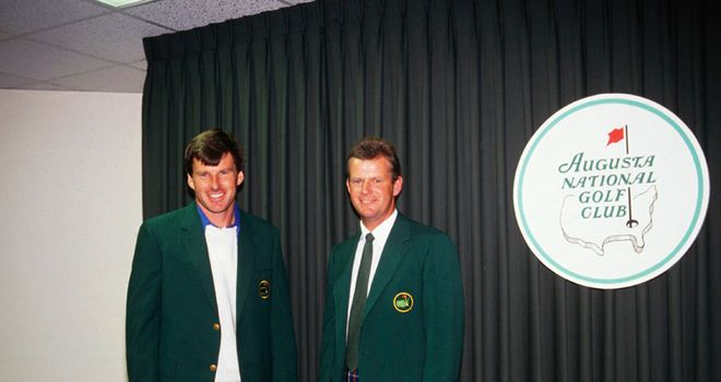 Nick Faldo in 1989 with previous year's winner Sandy Lyle.