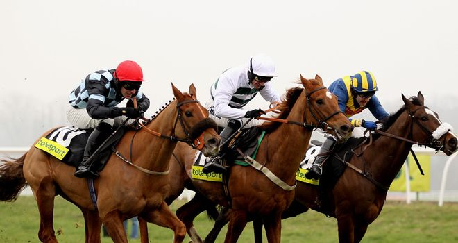 Recession Proof (centre) won the totesport Trophy at Newbury.