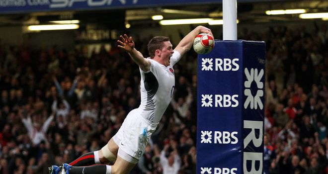 Flying high: Ashton scored both England's tries