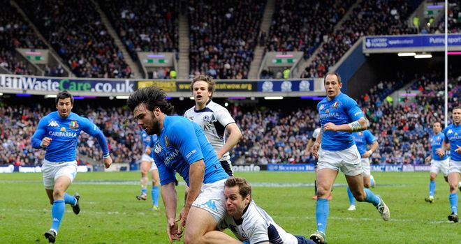 Last line of defence: Paterson denies McLean a try at Murrayfield