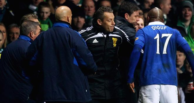 Diouf: Fined and warned over conduct after touchline bust-up