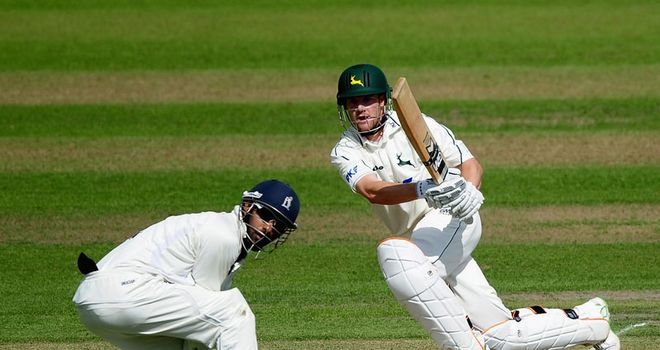 Aggressive intent: Notts skipper Read goes on the offensive against Warwickshire last August