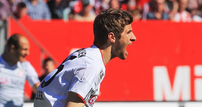 Thomas Muller: On target for Bayern Munich against Schalke
