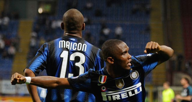 Eto'o: The striker has been linked with a big-money move to Anzhi Makhachkala