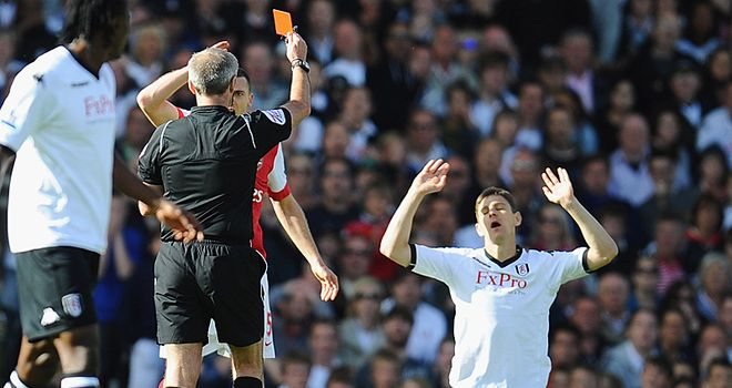 Gera: Sent off against Arsenal on what could prove to be his final appearance for Fulham
