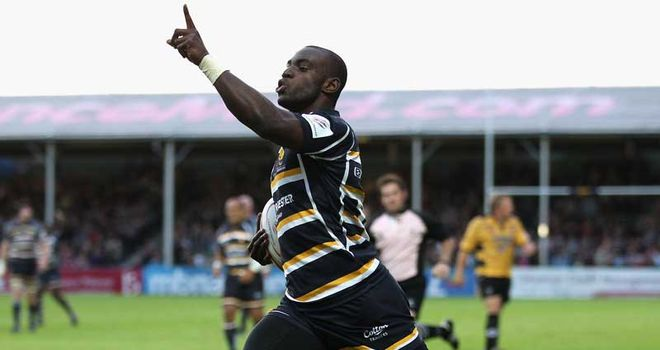 Miles Benjamin celebrates his crucial try at Sixways