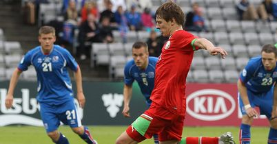 Andrei Voronkov gave Belarus the lead from the penalty spot