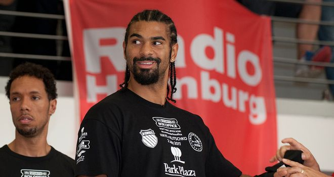 Mischievious mood: Haye was at it again at the open workouts