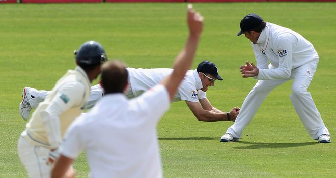 Safe hands: slip Strauss snares Prasanna Jayawardene in the first Test at Cardiff