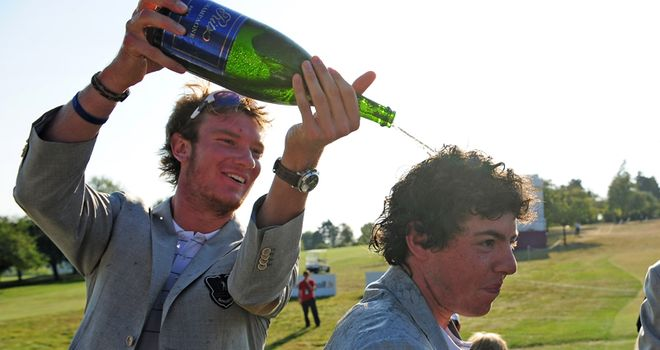 Chris gives Rory the champagne treatment