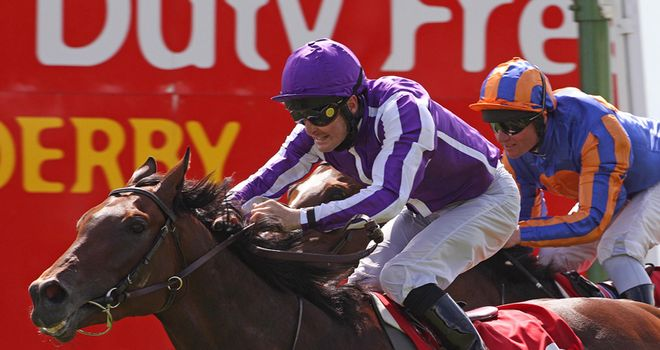 Treasure Beach: Gets the better of Seville to win the Irish Derby