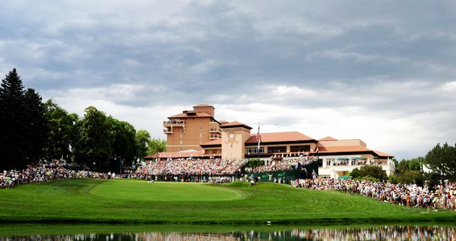 The 18th green at Broadmoor provides a dramatic finish