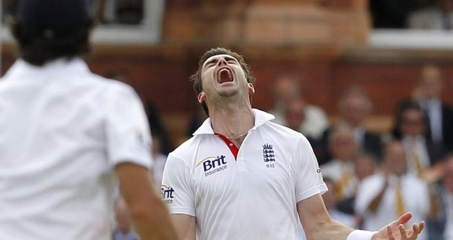Anderson celebrates one of his five wickets at Lord's
