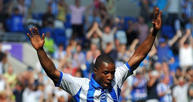 Lua Lua: Celebrates scoring his first goal at Brighton's new Amex Stadium
