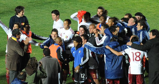 Venezuela's squad celebrate their progress to the semi-finals of the Copa America