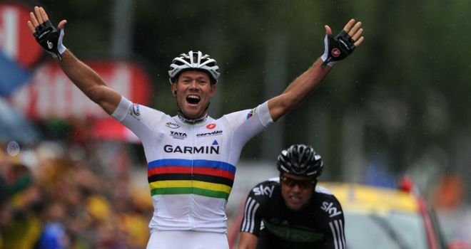 Hushovd: Timed his attack to perfection to see off Boasson Hagen in Gap