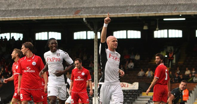 Johnson: Striker celebrates after giving Fulham the lead en route to victory over RNK Split