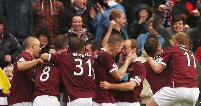 Hearts: Celebrate their 2-0 victory on Sunday
