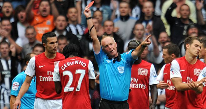 Gervinho: Was handed a red card on his debut for Arsenal