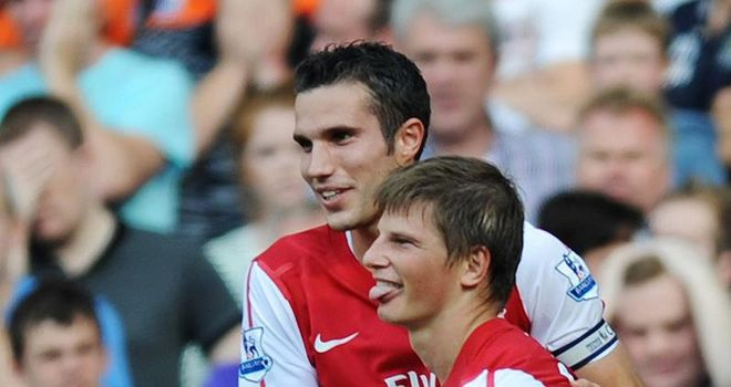 Arshavin: Celebrates with Van Persie after his goal