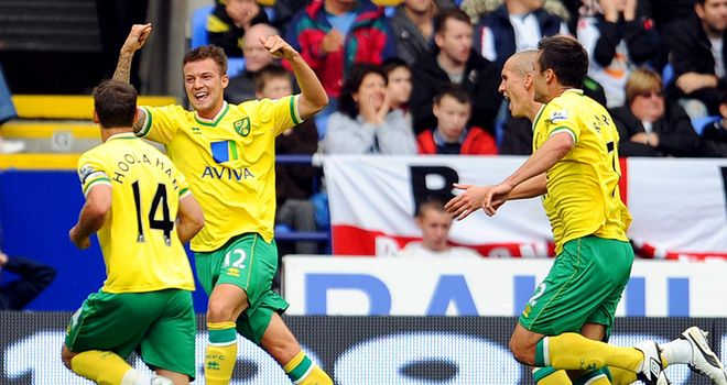 Pilkington: Celebrating the first goal of the game in Norwich's first win of the season