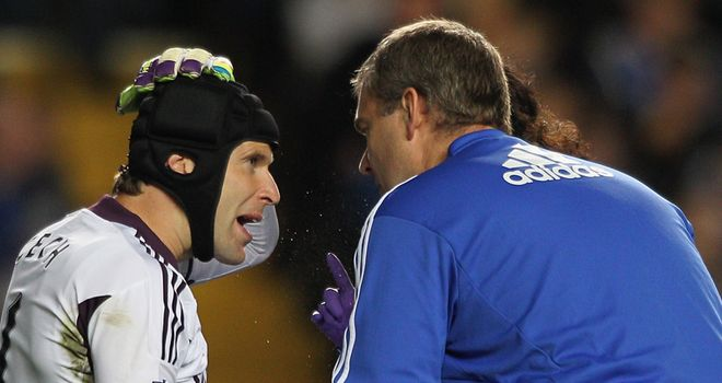 Cech: Chelsea goalkeeper went off at half-time with head injury