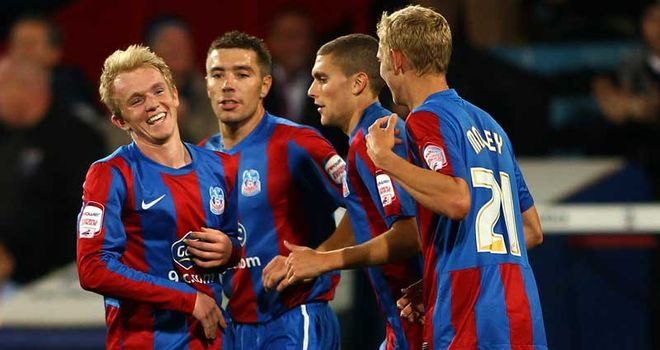 Williams (left): Celebrates his goal for Palace