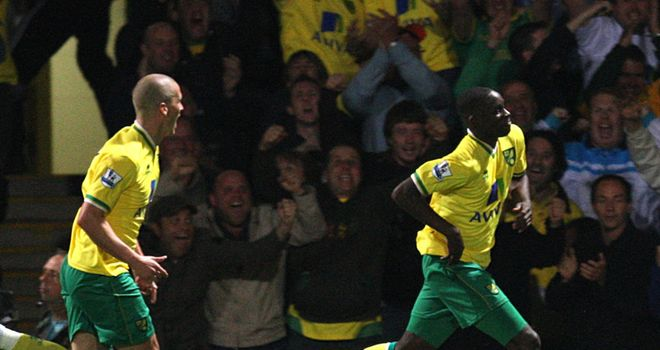 Barnett: Celebrating scoring the opening goal for Norwich against Sunderland