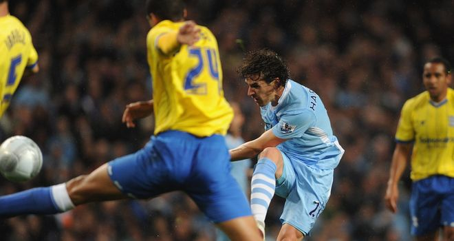 Hargreaves: Fires home goal on Manchester City debut